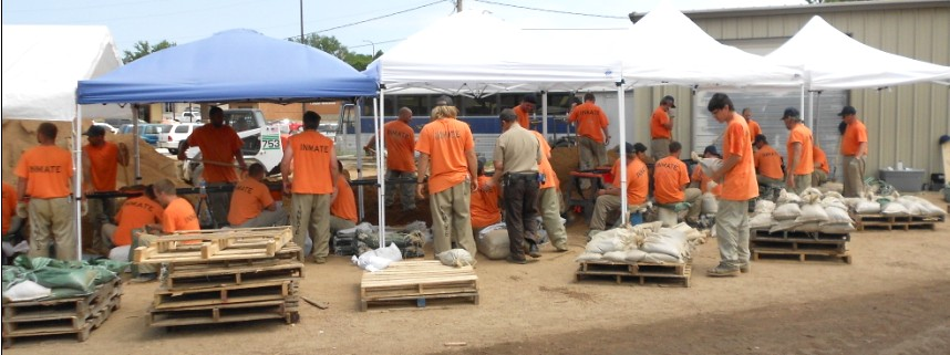 Inmates filled more than 1 million sandbags during the Missouri River flooding in 2011.