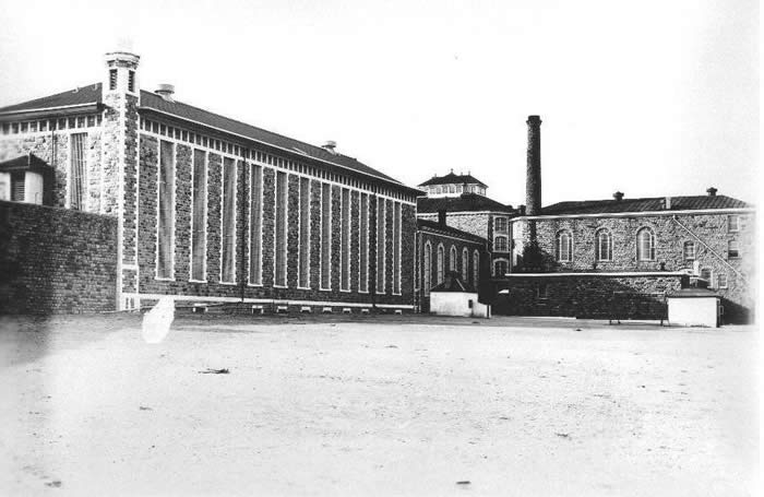 View of the State Penitentiary from inside the yard